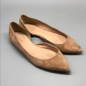 J. Crew nude suede pointed toe d'Orsay flats